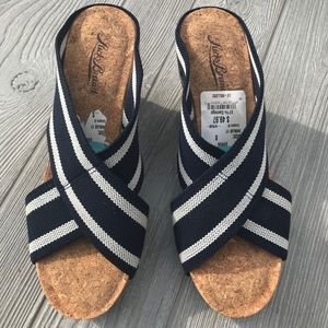 Lucky Brand Cork Wedges with Navy and White Strap